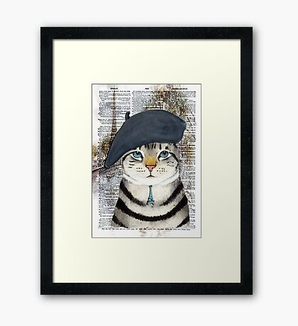 Charming French Cat in Paris. Perfect for cat lovers. Framed Print