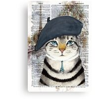 Charming French Cat in Paris. Perfect for cat lovers. Canvas Print