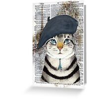 Charming French Cat in Paris. Perfect for cat lovers. Greeting Card