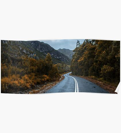 Road and mountains in the Tasmanian countryside Poster