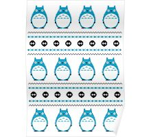 Totoro Winter Pattern - Blue Poster