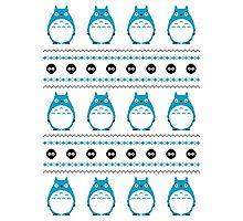Totoro Winter Pattern - Blue Photographic Print