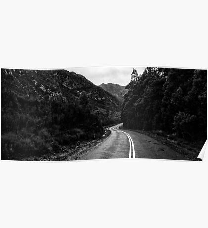Road and mountains in the Tasmanian countryside. Black and white. Poster