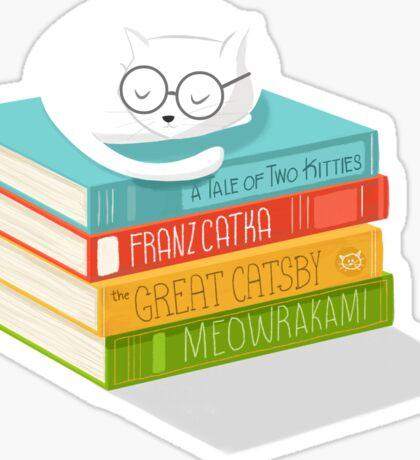The Cat Loves Books Sticker