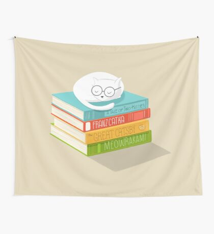 The Cat Loves Books Wall Tapestry