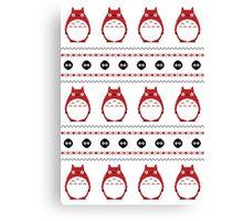 Totoro Winter Pattern - Red Canvas Print