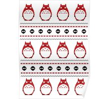 Totoro Winter Pattern - Red Poster