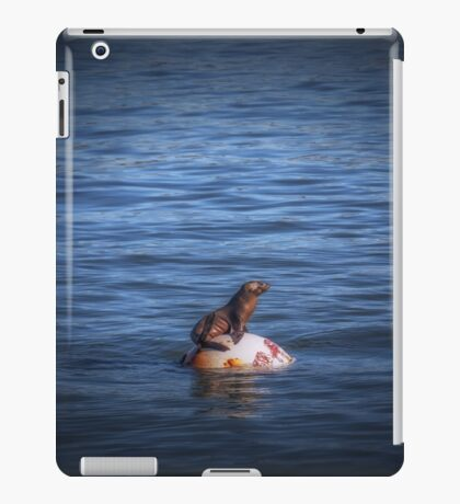 Boppin Along a baby sea lion basks on a buoy Seal Pup iPad Case/Skin