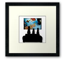 Charming Cats Watching Aquarium Framed Print