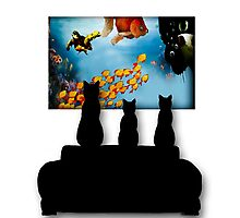 Charming Cats Watching Aquarium Photographic Print