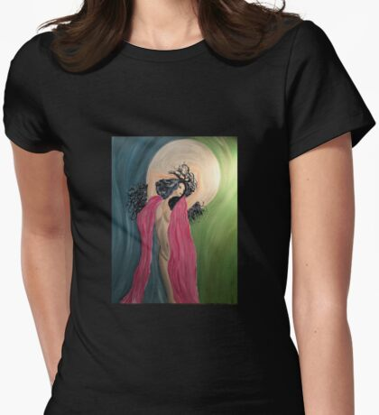 Luna Chick with Artist Signature Womens Fitted T-Shirt