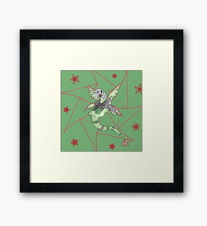 Pocket Monsters Flaggron (Flygon and Aggron Hybrid) Framed Print