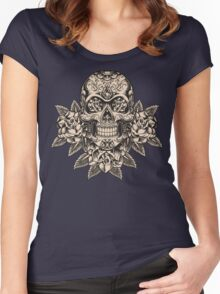Flowering Sugar; Skulling Series Women's Fitted Scoop T-Shirt