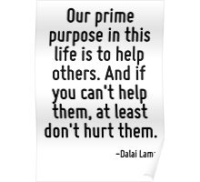 Our prime purpose in this life is to help others. And if you can't help them, at least don't hurt them. Poster