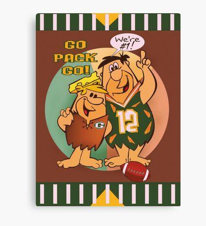 Flintstones Packers Fans Canvas Print