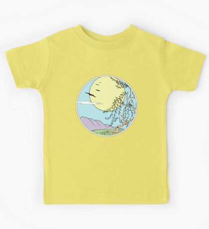 Willow Tree with Sun and Birds Kids Tee