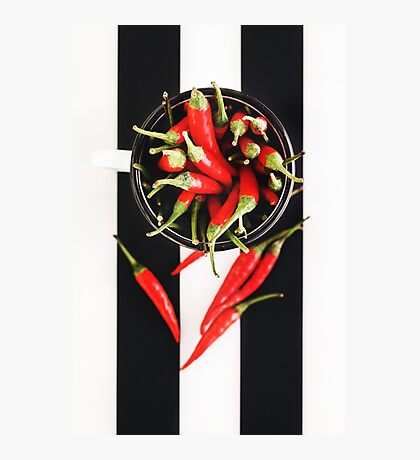 Red Chili Peppers in Mug Photographic Print
