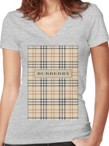 BURBERRY Women's Fitted V-Neck T-Shirt
