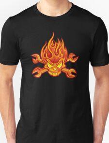 Flaming Headache; Skulling Series Unisex T-Shirt