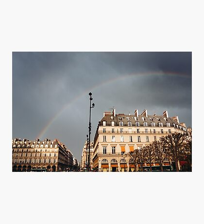 Paris Street View with Rainbow in the Sky Photographic Print