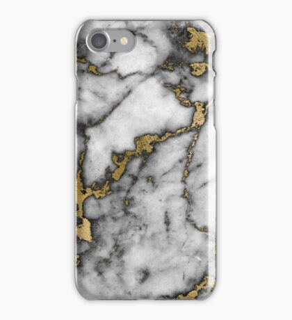 Grey marble gold streaks phone case cover iPhone Case/Skin
