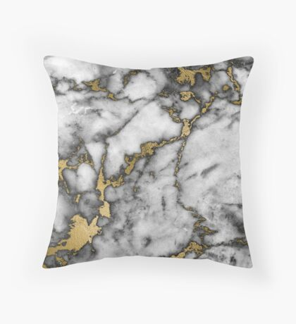 Grey marble gold streaks phone case cover Throw Pillow