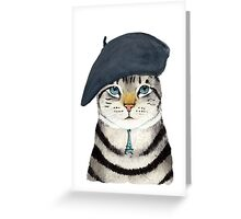 Charming French Cat  Greeting Card