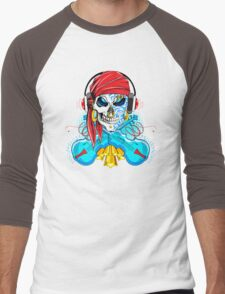 Dueling Fiddles; Skulling Series Men's Baseball ¾ T-Shirt