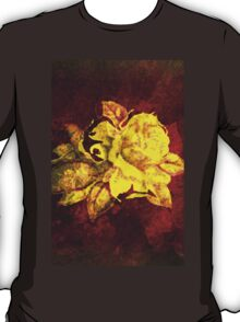 Big yellow rose on burgundy dark red  T-Shirt