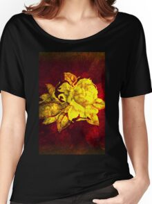 Big yellow rose on burgundy dark red  Women's Relaxed Fit T-Shirt