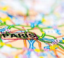Close-up on Paris city on map, travel destination concept by Stanciuc