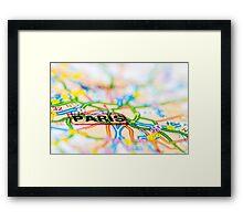Close-up on Paris city on map, travel destination concept Framed Print