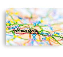 Close-up on Paris city on map, travel destination concept Canvas Print