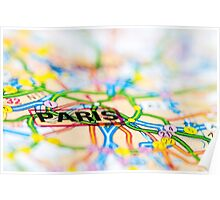 Close-up on Paris city on map, travel destination concept Poster