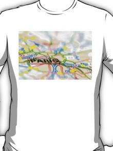 Close-up on Paris city on map, travel destination concept T-Shirt