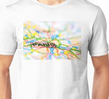 Close-up on Paris city on map, travel destination concept Unisex T-Shirt