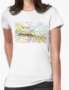 Close-up on Paris city on map, travel destination concept Womens Fitted T-Shirt