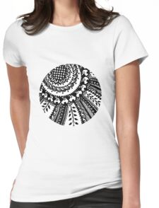 Handdrawn Round Henna Sticker from Hennacat (B&W or Colour me in!) Womens Fitted T-Shirt
