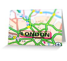 Close-up on London city on map, travel destination concept Greeting Card