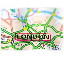 Close-up on London city on map, travel destination concept Poster