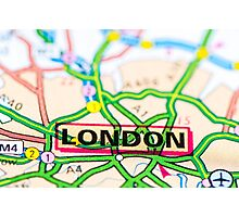 Close-up on London city on map, travel destination concept Photographic Print