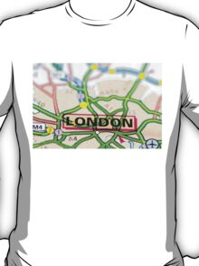 Close-up on London city on map, travel destination concept T-Shirt
