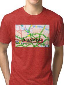Close-up on London city on map, travel destination concept Tri-blend T-Shirt