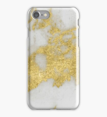 Marble - Yellow Gold Marble Foil on White Pattern iPhone Case/Skin
