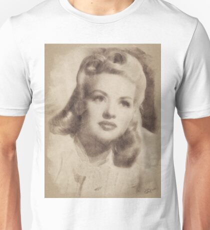 Betty Grable, Vintage Hollywood Actress and Pinup Unisex T-Shirt
