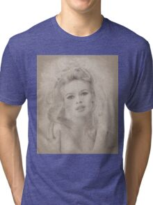 Brigitte Bardot, Vintage Hollywood Actress Tri-blend T-Shirt
