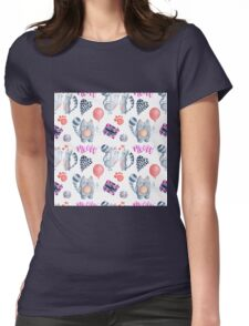 watercolor kissing cats valentine pattern  Womens Fitted T-Shirt
