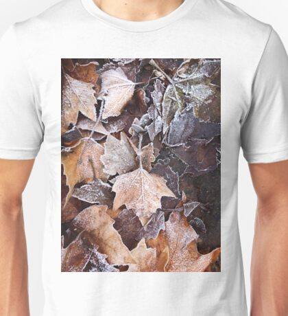 Frozen leaves on a winter day Unisex T-Shirt