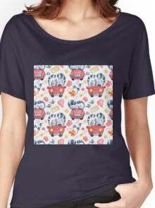 Watercolor cats in just married red car and brush lettering xoxo Women's Relaxed Fit T-Shirt
