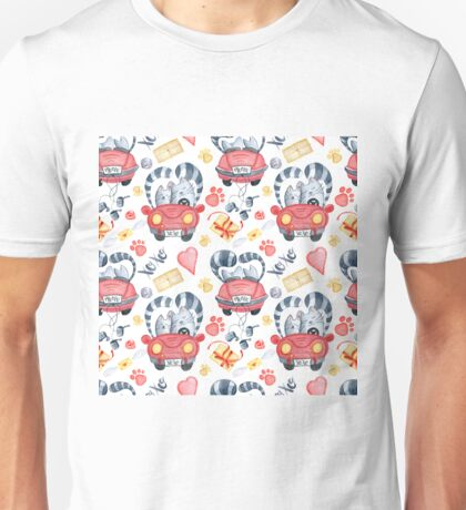 Watercolor cats in just married red car and brush lettering xoxo Unisex T-Shirt